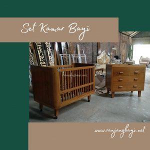set furniture kamar bayi kayu jati